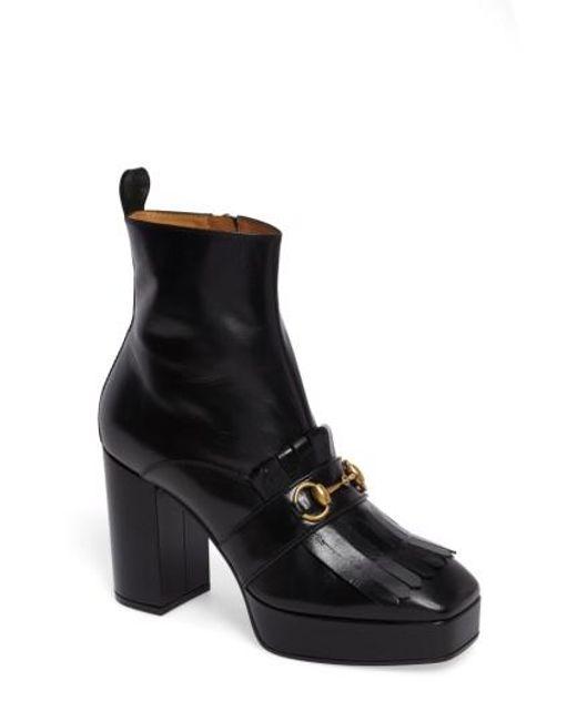 Gucci | Black Novel Square Toe Platform Bootie | Lyst