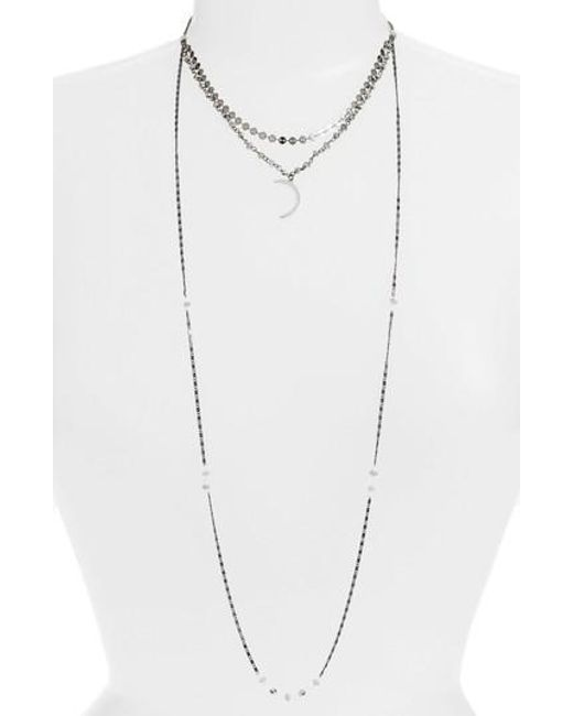 Nakamol Beaded Multi-Strand Choker Necklace w/ Moon Charm BfFEDfRhB
