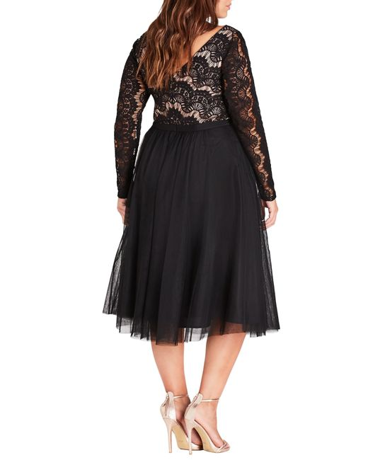 9d0f5aed70 City Chic Rare Beauty Lace Fit   Flare Dress in Black - Save 38% - Lyst