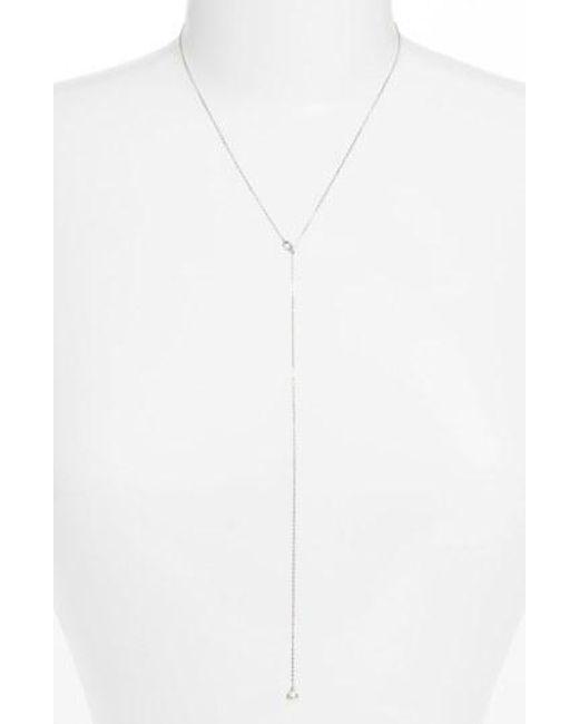 Nadri - Metallic Faux Pearl Long Y-necklace - Lyst