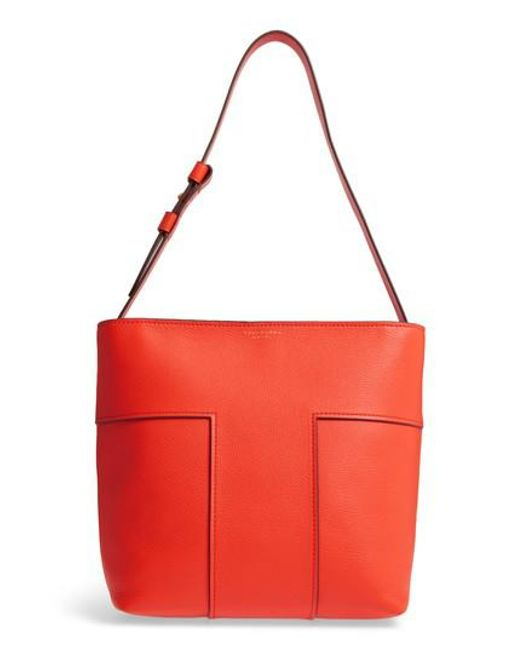 Tory Burch | Red Block-t Pebbled Leather Hobo | Lyst