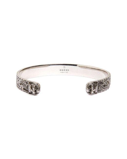 Gucci - Metallic Feline Head Cuff Bracelet for Men - Lyst
