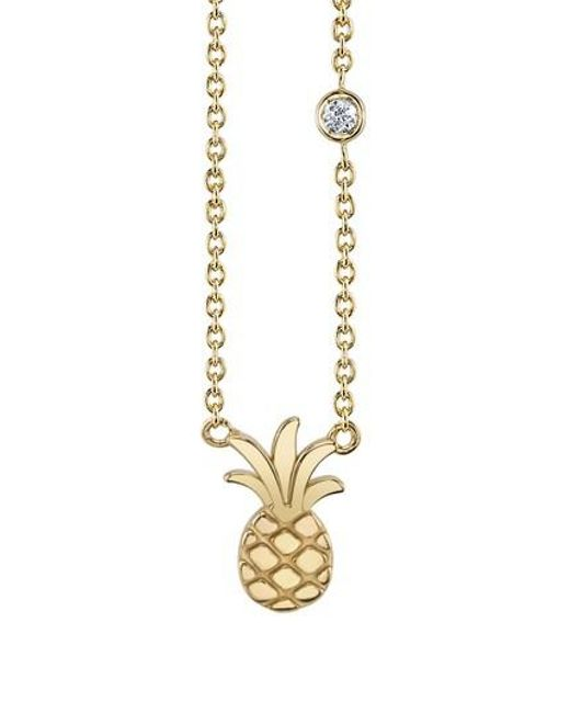 Shy By Sydney Evan | Metallic Pineapple Diamond Pendant Necklace | Lyst