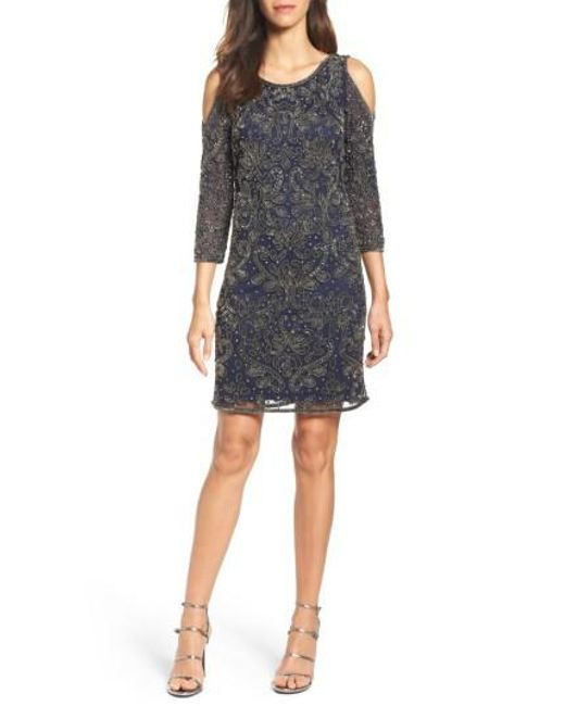 Pisarro Nights - Blue Embellished Mesh Sheath Dress - Lyst