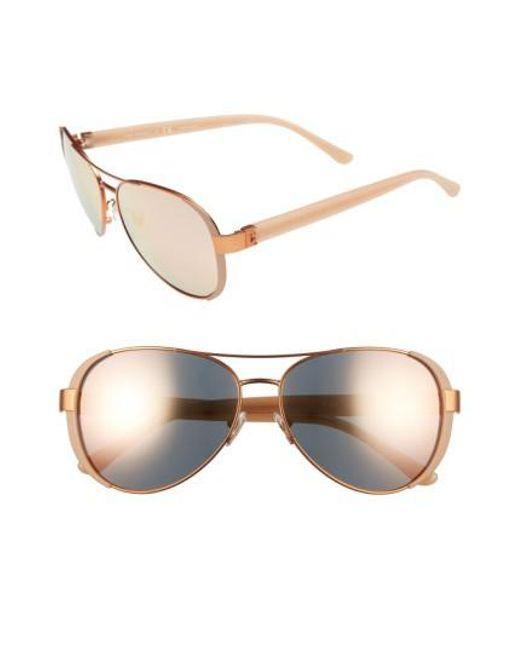 Tory Burch | Metallic 60mm Aviator Sunglasses | Lyst