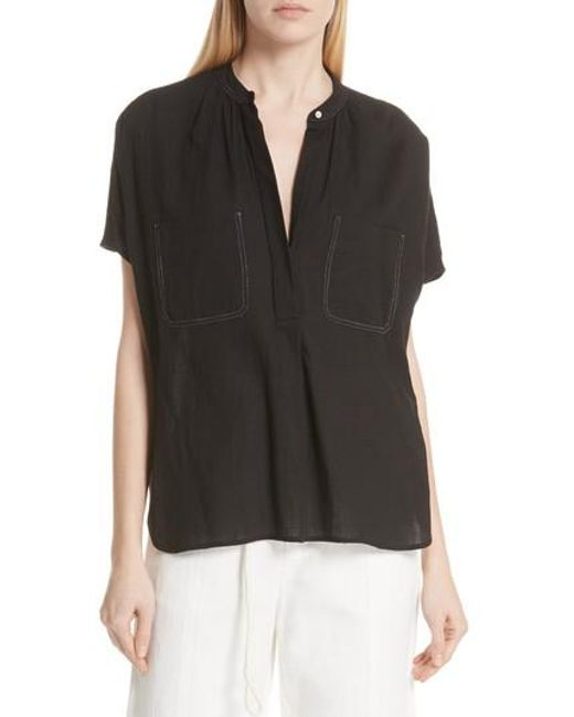 Vince - Black Topstitch Crinkle Cotton Top - Lyst