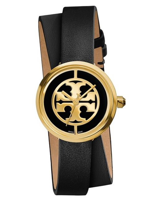 Tory Burch | Black 'reva' Logo Dial Double Wrap Leather Strap Watch | Lyst