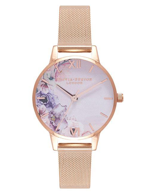 Olivia Burton - Multicolor Watercolour Florals Mesh Strap Watch - Lyst