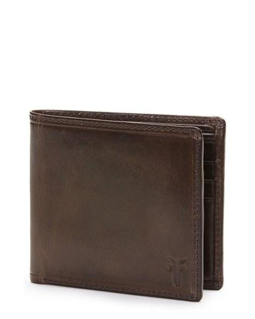 Frye | Brown 'logan' Leather Billfold Wallet for Men | Lyst