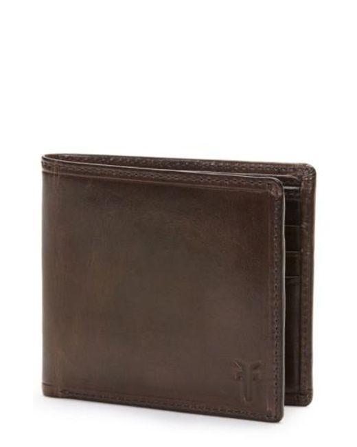 Frye | Brown 'logan' Leather Billfold Wallet for Men | Lyst