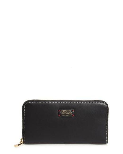 Frances Valentine   Black Kennedy Calfskin Leather Zip Around Wallet   Lyst