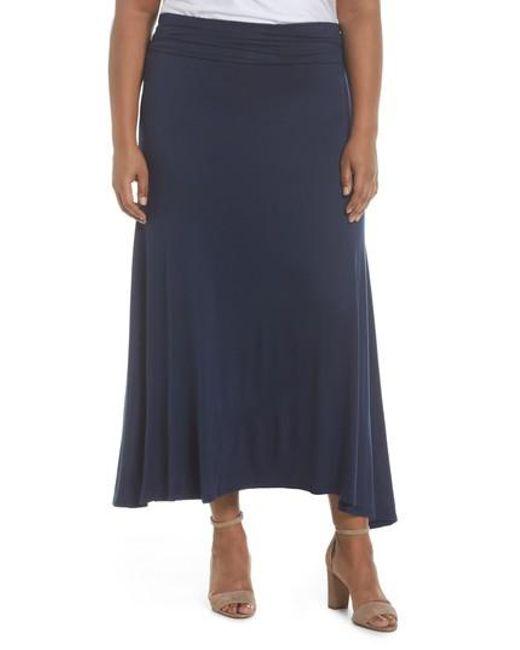 Soprano - Blue Foldover Knit Skirt - Lyst