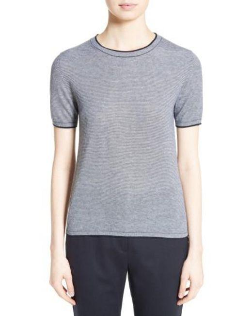 Max Mara | Blue Stampa Silk & Cashmere Knit Top | Lyst