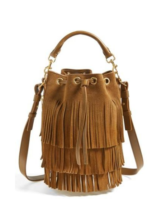 Saint Laurent | Brown Emmanuelle Fringed Suede Bucket Bag | Lyst