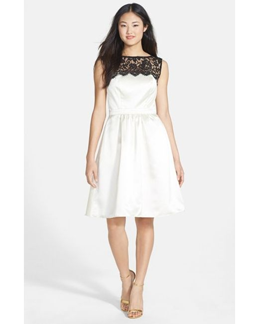 After Six | White Sleeveless Lace & Satin Cocktail Dress | Lyst