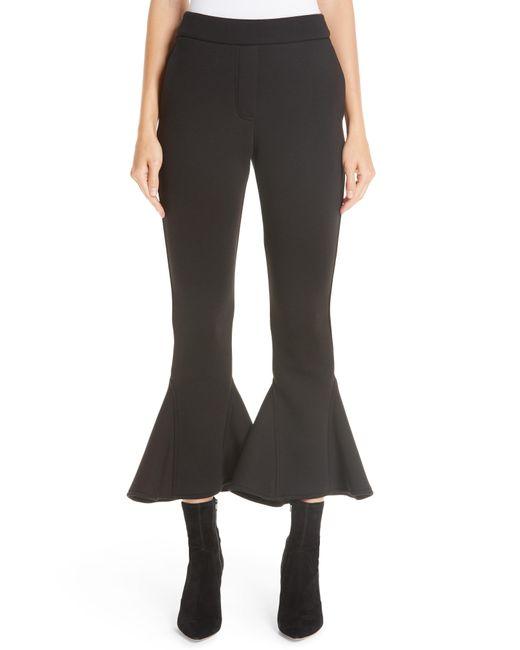 Beaufille - Black Ruffle Bell Bottom Neoprene Pants - Lyst
