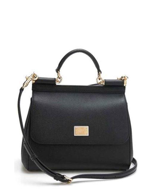 Dolce & Gabbana | Black 'small Miss Sicily' Satchel | Lyst