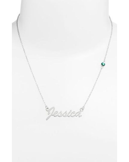 Argento Vivo | Green Birthstone & Personalized Nameplate Pendant Necklace (nordstrom Online Exclusive) | Lyst