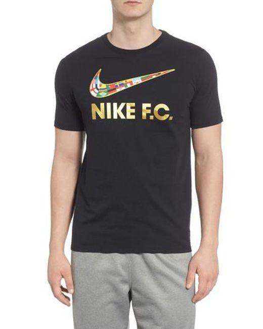 Nike - Black F.c. Swoosh Flag Graphic T-shirt for Men - Lyst