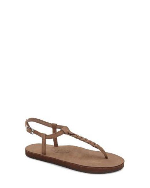 Rainbow Sandals - Brown T-street Braided T-Bar Sandals - Lyst