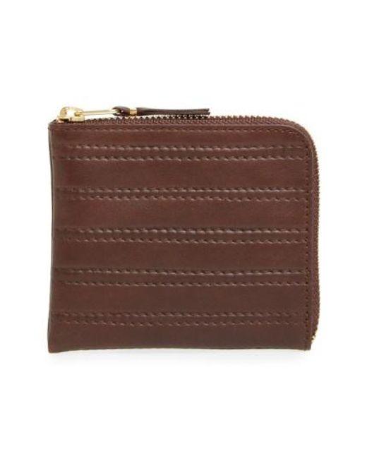 Comme des Garçons | Black 'embossed Stitch' Leather Half Zip French Wallet for Men | Lyst