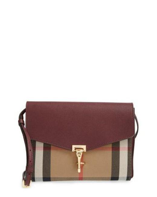 Burberry | Brown 'Small Macken' Check Crossbody Bag | Lyst