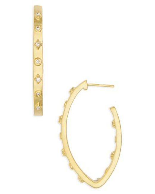 Freida Rothman | Metallic Audrey Oval Cubic Zirconia Hoops | Lyst