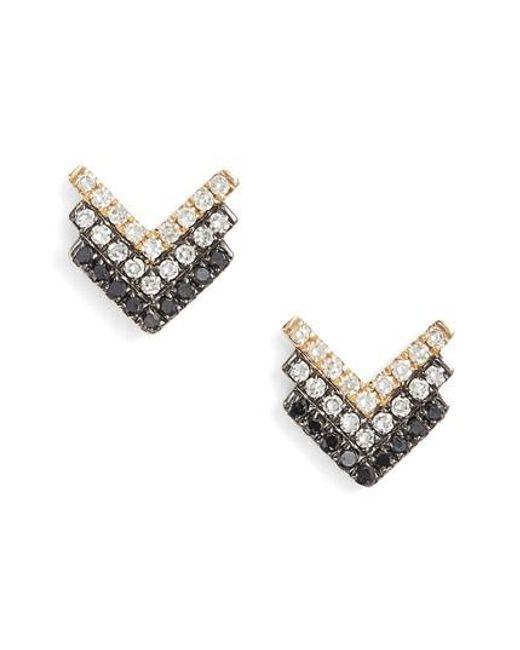 EF Collection | Metallic Chevron Diamond Stud Earrings | Lyst