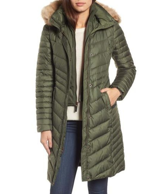 Andrew Marc | Green Chevron Quilted Coat With Genuine Coyote Fur Trim | Lyst