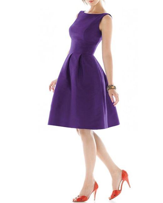 Alfred Sung | Purple Dupioni Fit-and-Flare Silk Dress | Lyst