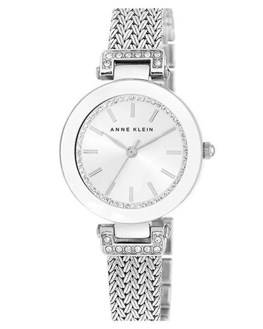Anne Klein   Metallic Crystal Accent Mesh Strap Watch   Lyst