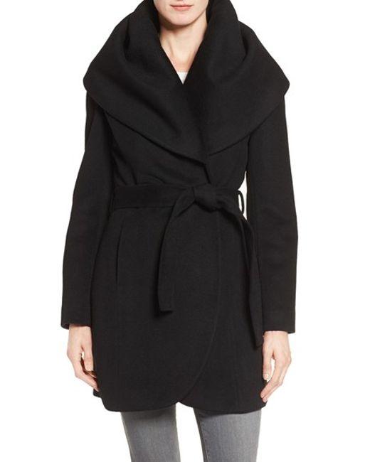 T Tahari | Black Wool Blend Belted Wrap Coat | Lyst