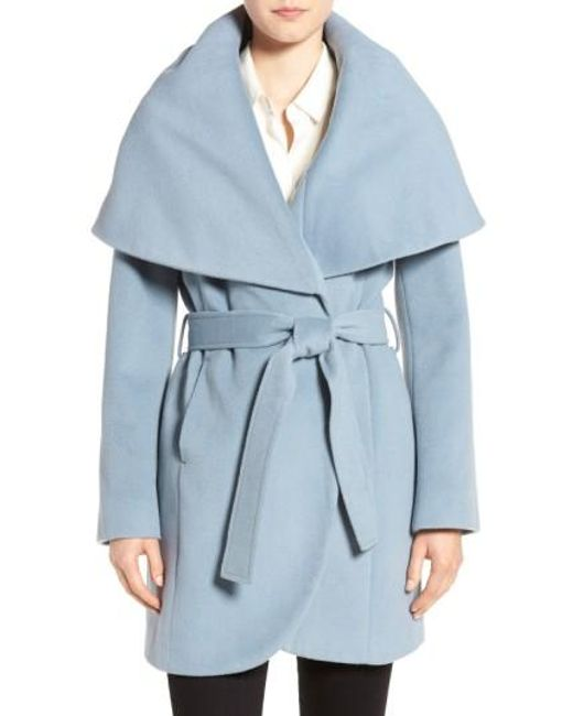 Tahari | Blue Wool-Blend Belted Wrap Coat | Lyst