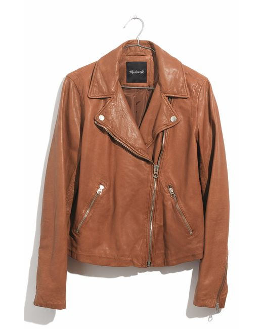 Madewell - Brown Washed Leather Moto Jacket - Lyst