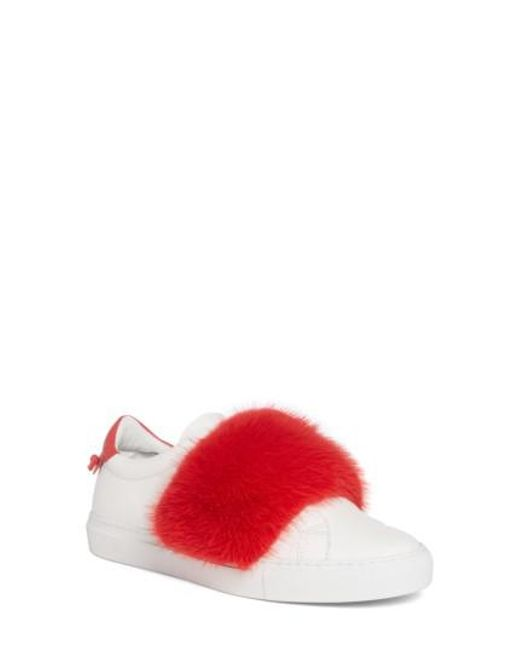 Slip-On Sneakers leather white mink fur pink Givenchy mDthu