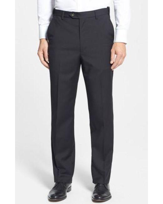 Berle | Black Self Sizer Waist Flat Front Wool Trousers for Men | Lyst