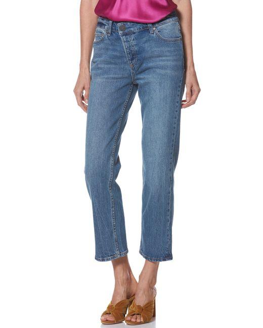 PAIGE - Blue Noella Asymmetrical High Waist Crop Jeans - Lyst