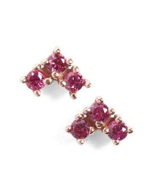 Anna Sheffield | Pink 'bea' Ruby Arrow Stud Earrings | Lyst