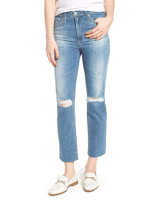 AG Jeans - Blue The Isabelle High Waist Crop Straight Leg Jeans - Lyst