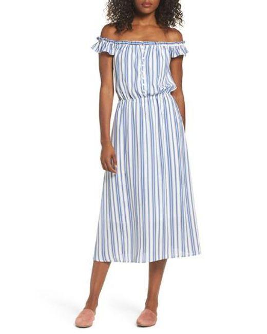 Fraiche By J | Blue Prairie Off The Shoulder Dress | Lyst