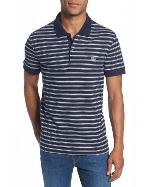 Lacoste   Blue Stripe Polo for Men   Lyst