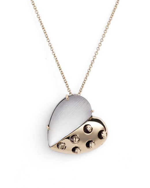 Alexis Bittar - Metallic Small Lucite Grater Heart Pendant Necklace - Lyst