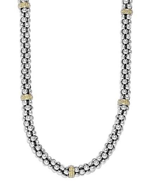 Lagos - Metallic Sterling Silver Caviar 3mm Rope Necklace - Lyst