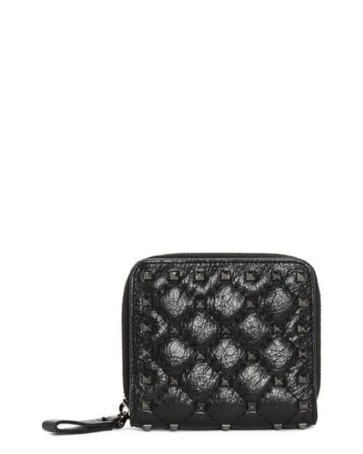 Valentino - Black Rockstud Leather French Wallet - Lyst