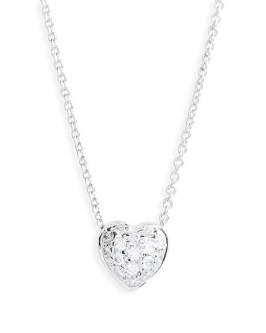 Roberto Coin - Metallic 'tiny Treasures' Diamond Heart Pendant Necklace - Puffed Heart - Lyst