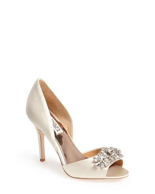 Badgley Mischka | White 'giana' Satin D'orsay Pump | Lyst