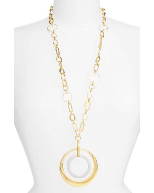 Karine Sultan | Metallic Double Circle Pendant Necklace | Lyst