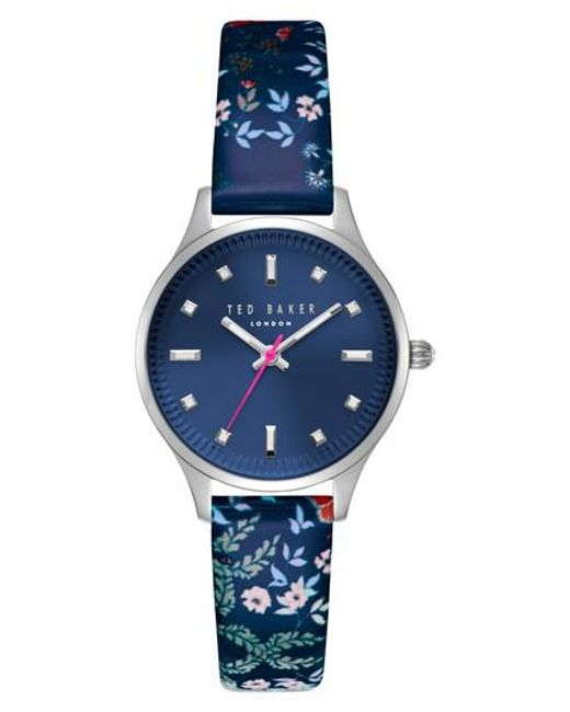 Ted Baker   Blue Zoe Round Leather Strap Watch   Lyst