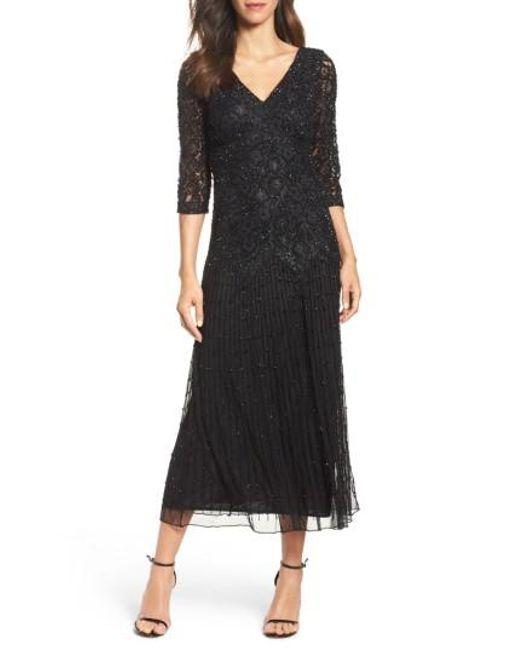 Pisarro Nights   Black Beaded Mesh Dress   Lyst