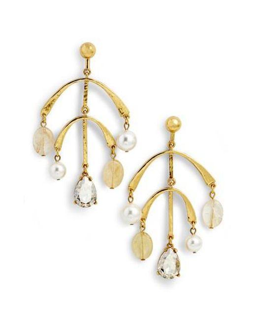 Oscar De La Renta Crystal & Pearl Drop Earrings in Metallics wlfOcs